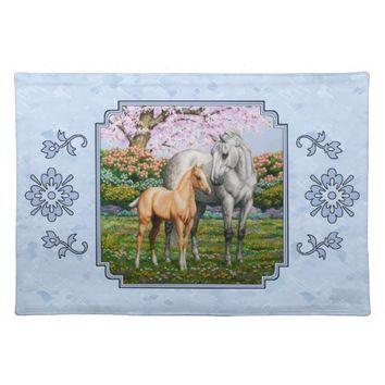 Quarter Horse Mare and Foal Blue Cloth Placemat