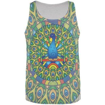CREYCY8 Mandala Trippy Stained Glass Peacock All Over Mens Tank Top