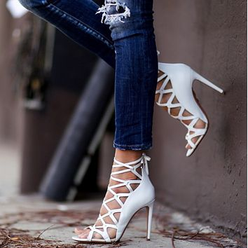 Party Leather Strap Cutout High Heel Sandals