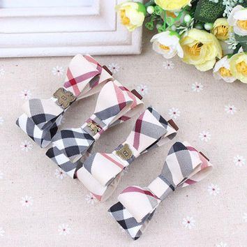 DCCKL3Z Brand Plaid Cloth Women Hair Clips Barrette Hairpin Accessories Girls Hair bands butterfly design Baby bowknot hair ropes