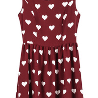 Red Sleeveless Hearts Print Chiffon Dress - Sheinside.com