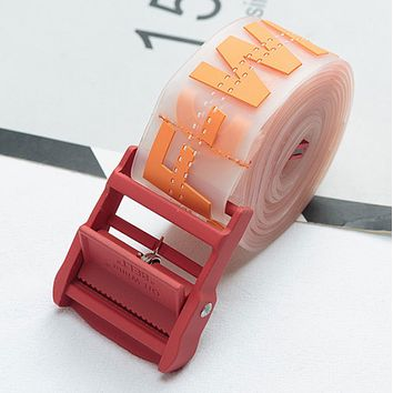 OFF-WHITE Tide brand letter printing custom models unisex models transparent automatic buckle belt orange