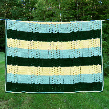 Vintage crochet afghan blanket throw in green, teal-green, and light-yellow striped pattern 66 x 51 in