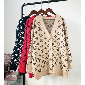 LV Louis Vuitton Fashion Women Classic Long Sleeve V Collar Sweater Knit Cardigan Jacket Coat(3-Color) I12926-1