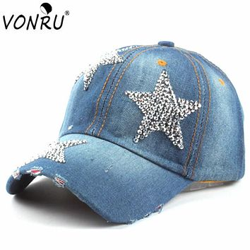 New Fashion Baseball Hat Caps Sunshading Men Womens Baseball Cap Rhinestone Hat Denim Cotton Snapback Cap