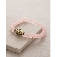 Frosted Rose Quartz Buddha Bracelet