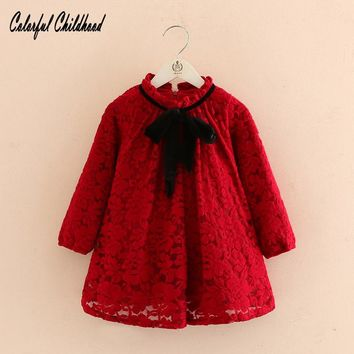 Xmas Newborn Baby Girls Long Sleeve Dress Christmas black velvet bow design A-line Dresses Kids Outfits Costume winter