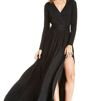 DailyLook: Vivian Jersey Knit Wrap Maxi Dress in Black XS - S