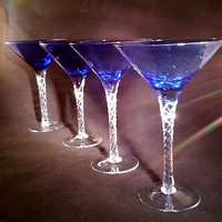 Beautiful Cobalt Crystal Martini Glasses S/3