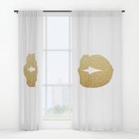 Glitter lips Window Curtains by Printapix