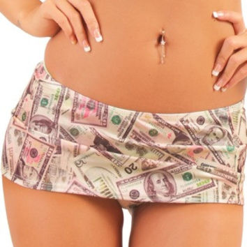 Sexy Money Print Mini Skirt Dance Wear