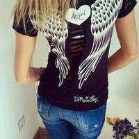 Angel Wings  Print Back Lace Patchwork T-Shirt