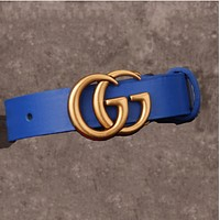 GUCCI Women's Fashion Buckle Belt Leather Belt Blue