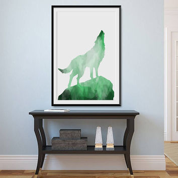 Wolf, Emerald Wolf, Wolf Printables, Emerald,  Wolf Print, Wolf download, Instant Download, Digital, Art,  Download, Art Print