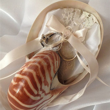 Beach Wedding Tiger Nautilus Shell Ring Bearer Pillow in White & Ivory (or Custom)