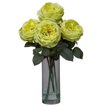 Silk Flowers -Fancy Rose With Cylinder Vase Flower Arrangement Artificial Plant