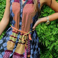 Tribal Town Mixed Pattern Collar Tie Front Button Shift Dress