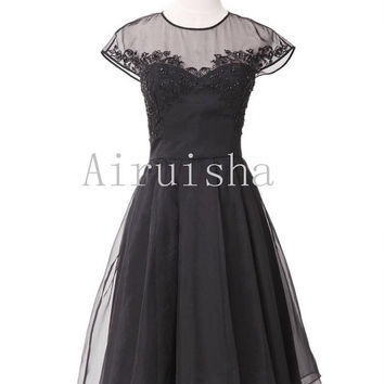 Sexy black appliques beading A-line tulle formal dress