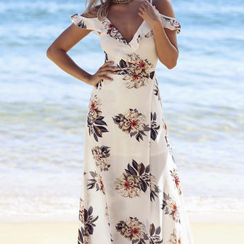 Floral Wrap Dress - White