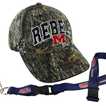 Who's In Mossy Oak NCAA College Camo Hat and Team Color Lanyard (Mississippi Rebels)