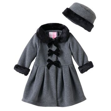 Baby Girl Sophie Rose Velvet Bow Faux-Fur Fleece Coat with Hat