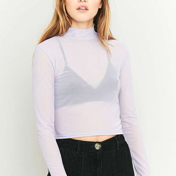 Light Before Dark Mesh Long Sleeve Turtleneck Top - Urban Outfitters