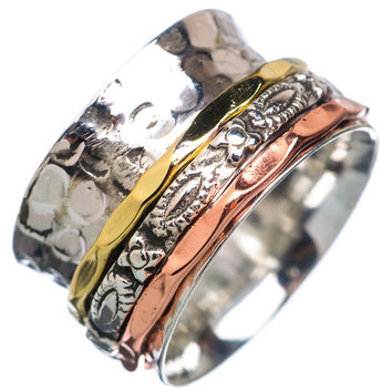 Spinner Ring Three Tone Textured Bands
