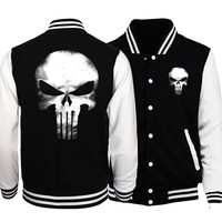 novelty skull men baseball jackets The Punisher fashion unisex sweatshirt casual button brand tracksuit women spring autumn