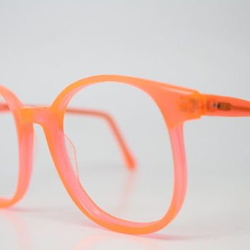 Vintage Eyeglasses Pathway Optical Neon Orange 1980's Retro Eyeglass Frames