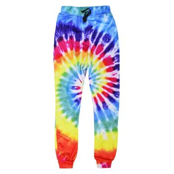 Raisevern 2017 New Fashion Sweatpants Joggers 3D Rainbow Circle Full Printing Pants Men Women Harajuku Trousers Dropship