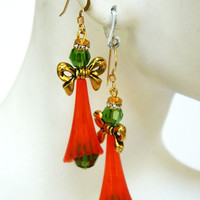 Christmas Angel Earrings Red and Green Handcrafted Short Holiday Gold