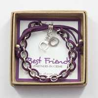 Best Friends Partners in Crime Charm Bracelet in Gift Box