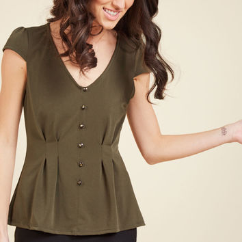 Authentically Alluring Top Button-Up Top in Olive | Mod Retro Vintage Short Sleeve Shirts | ModCloth.com