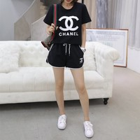 """Chanel"" Women Casual Fashion Letter Logo Print Short Sleeve Shorts Set Two-Piece Sportswear"
