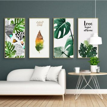 SURE LIFE Tropical Green Leaf Nature Poster Sweet Love Pictures Canvas Paintings Printing Wall Art for Living Room Home Decor