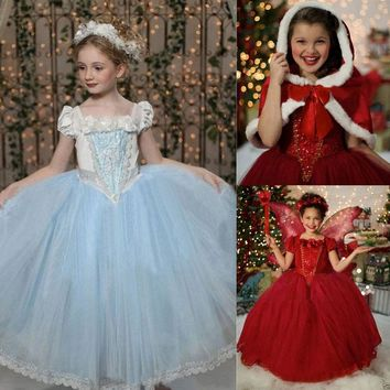 2016 Top Selling Frozen Baby Girls Princess Dresses Costume Snow White Princess Party Fancy Dress + Cape
