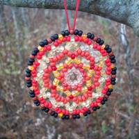 Mandala Suncatcher - Huichol Beaded Ornament, Red/Black/Off White/Peach