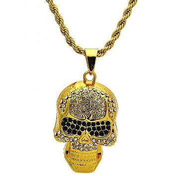 Gold Tone 04.242.0014.30GT Fancy Necklace, Rope and Skull Design, with White and Black Crystal, Polished Finish, Gold Tone