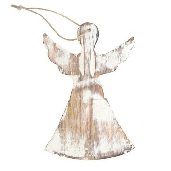 Hanging Wooden Distressed Angel with Wings Christmas Ornament, White, 6-Inch