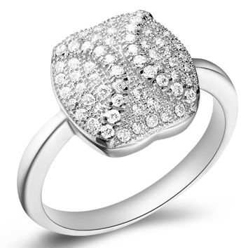 18K White Gold Plated Softball Crystal Pave Cocktail Ring - Size 8