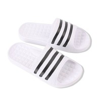 DCCK3SY KT Korean Style Three Striped EVA Slippers For Women or Men,Soft House Sandals Suitable For Office Bedroom Dining Room Spa Swimming Poolside Indoor & Outdoor(White)