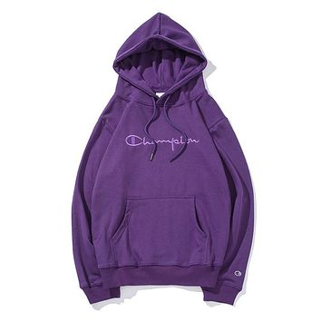 Champion Fashion Women Men Pure Color Simple Embroidery Hooded Sweater Pullover Top Purple I-CP-ZDL-YXC