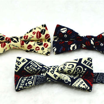 Mens Linen Printed Formal Fashion Bow Ties Man Cashew Nut Flower Apple Rose Solid Neck Bowtie Bowknot Gravatas Necktie Butterfly