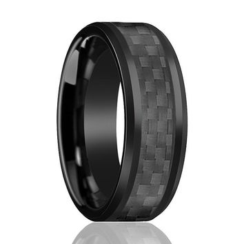 Aydins Tungsten Ring Black Shiny Polished w/ Black Carbon Fiber Inlay Wedding Band 8mm Tungsten Carbide Wedding Ring
