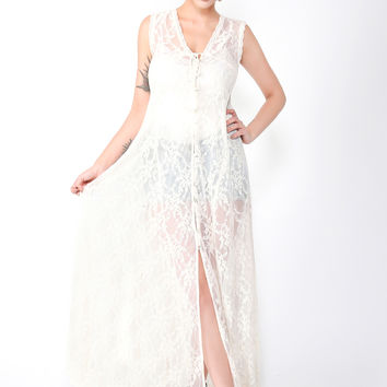 Festival Muse Ivory Lace Long Buttoned Maxi Dress