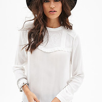 FOREVER 21 Embroidered Peasant Top Ivory