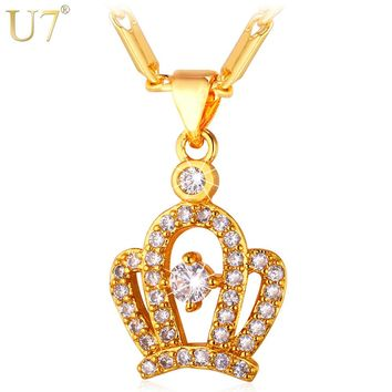 U7 Hot Queen Crown Necklace Pendant With AAA Cubic Zirconia Gold/Silver Color Fashion Necklaces For Women P622