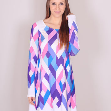 Geo Dress - Pink and Purple