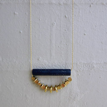 NL-059 Navy Blue Sparkle Polymer Clay Tube with Brass Disc and Round Coin Shape Brass Bead in 16K Gold Plated Brass Chain