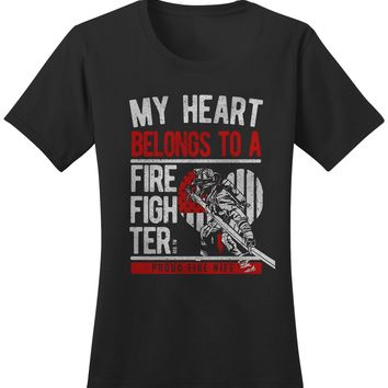 Shirts By Sarah Women's Fire Wife T-Shirt Heart Belongs To Firefighter